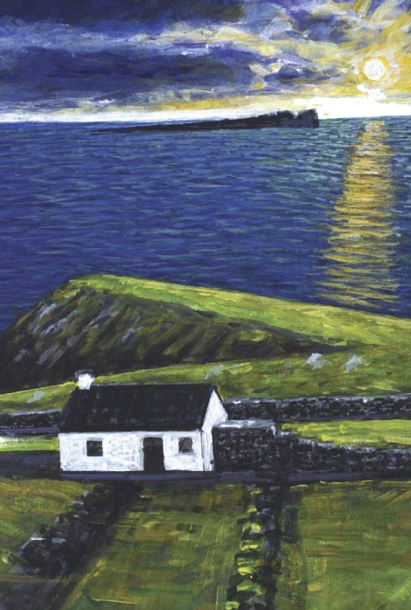 Painting of sunset over Tory Island